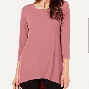 Alfani Hi low Long Sleeve Top - Burgundy